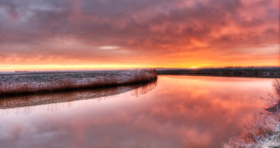 winter sunrise in the Cambridgeshire Fens